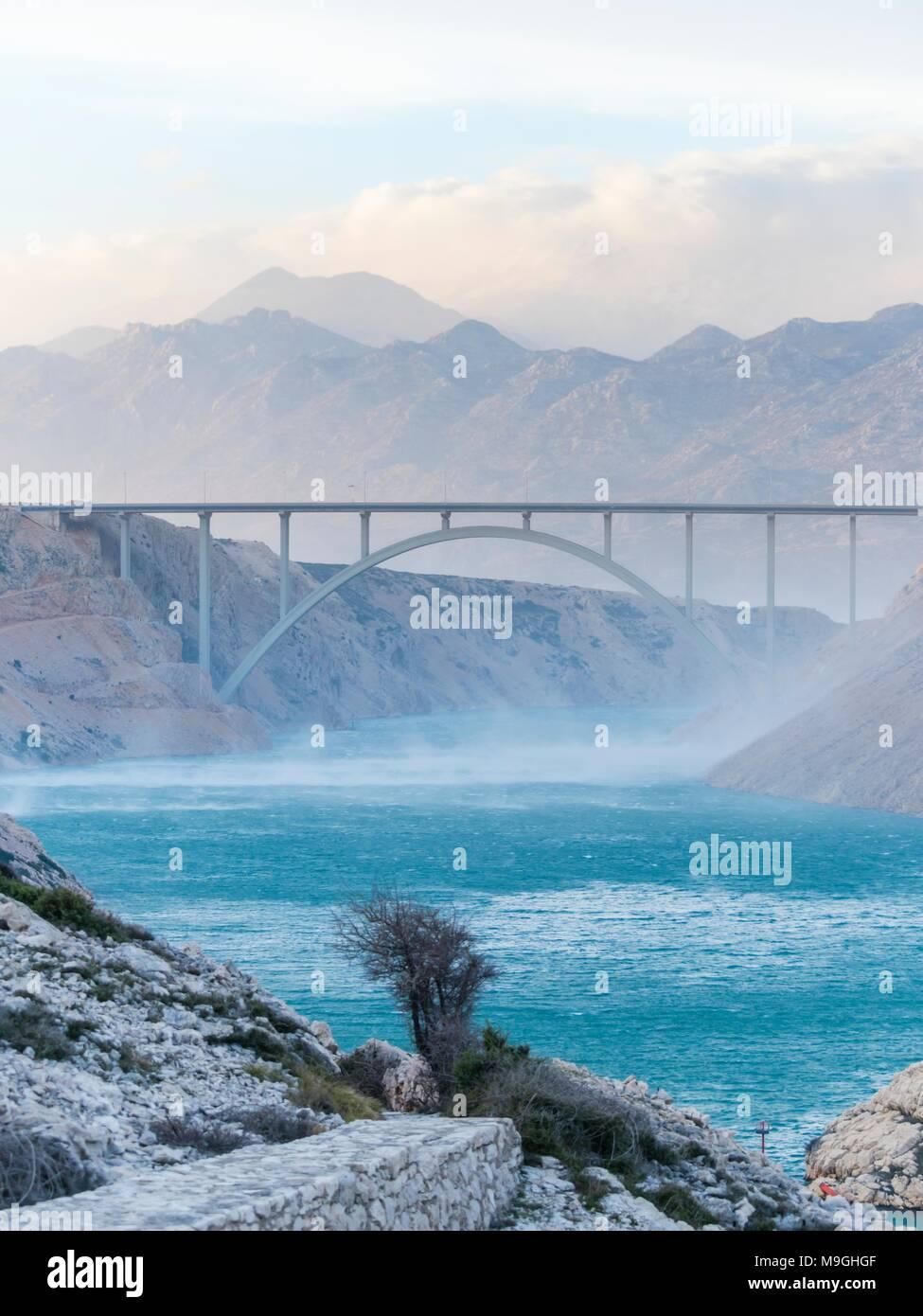 Maslenica bridge and bura wind - Stock Image