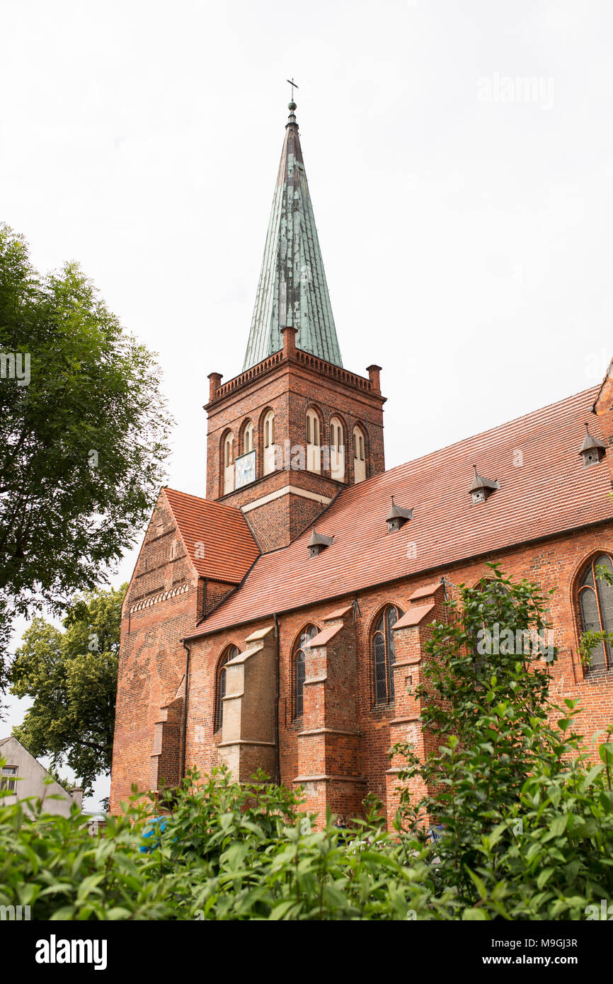 The Marienkirche (St Mary's church) in Bergen auf Rügen, Germany. This church from 1193 is the oldest building on the island. - Stock Image
