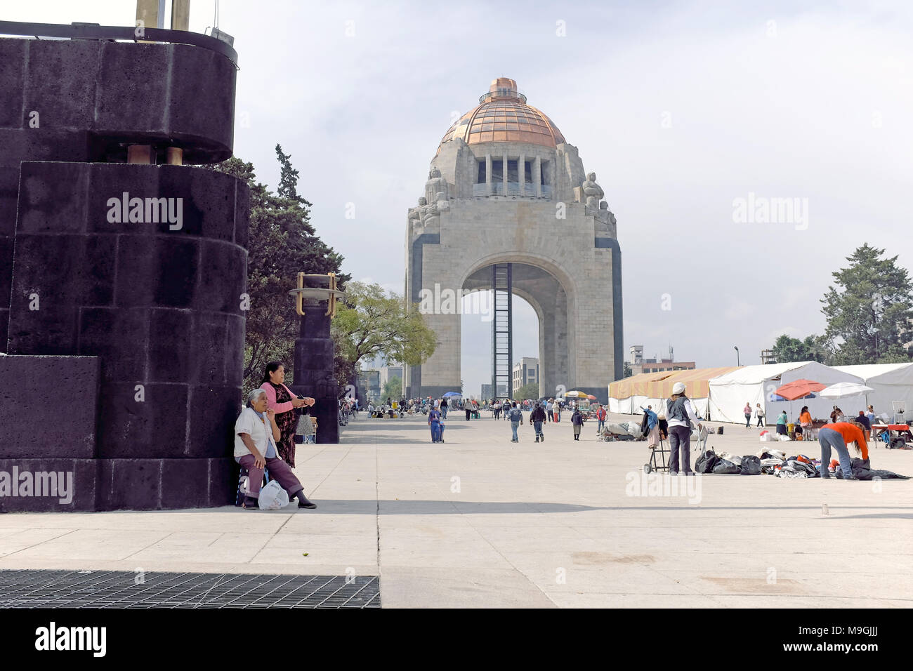 The Plaza de la Republic with the Monument de la Revolution is a popular area for protesting varying issues impacting the Mexican people. - Stock Image