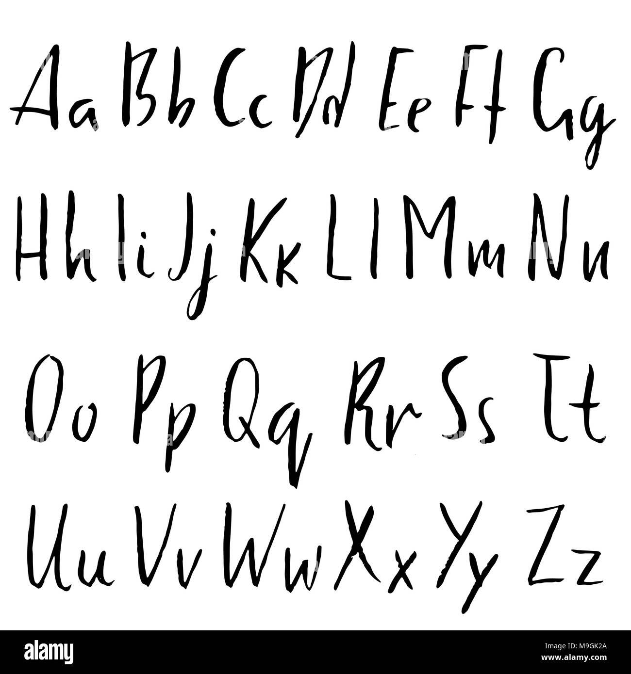 Handdrawn Dry Brush Font Modern Brush Lettering Grunge Style Alphabet Vector Illustration Stock Vector Image Art Alamy