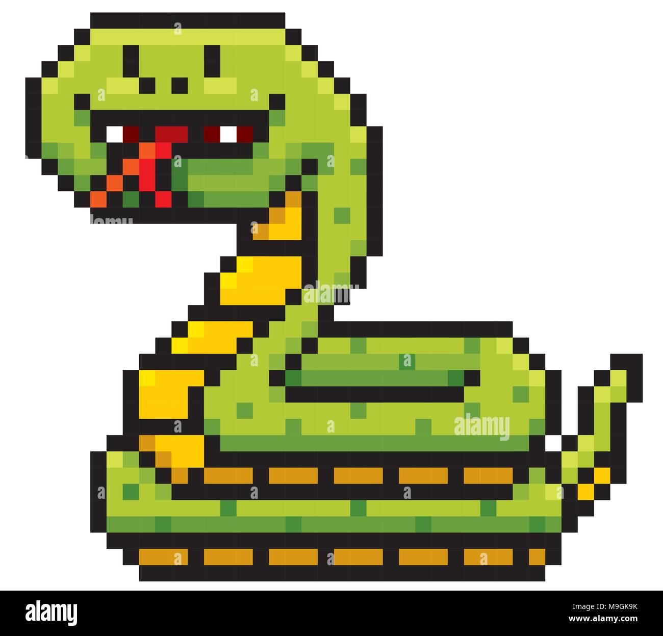 Vector Illustration Of Cartoon Snake Pixel Design Stock