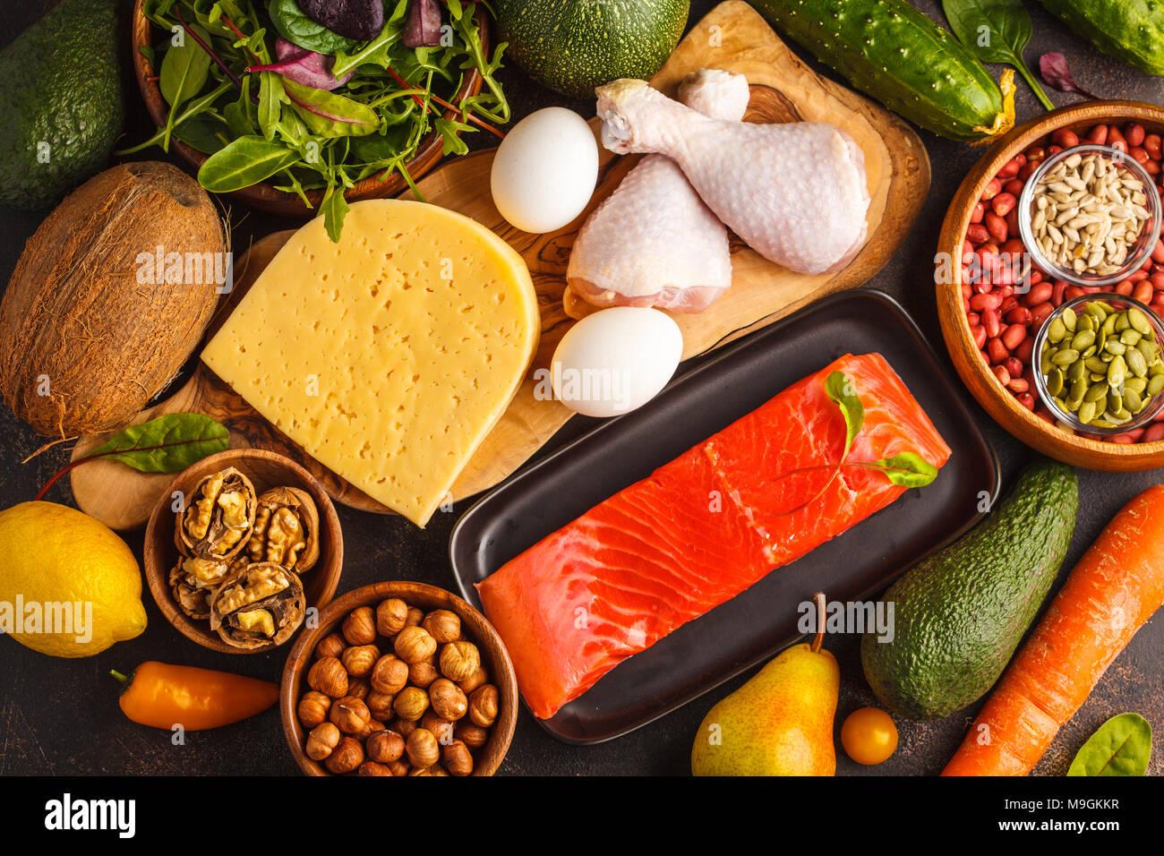 Keto Diet Concept Balanced Low Carb Food Background Vegetables