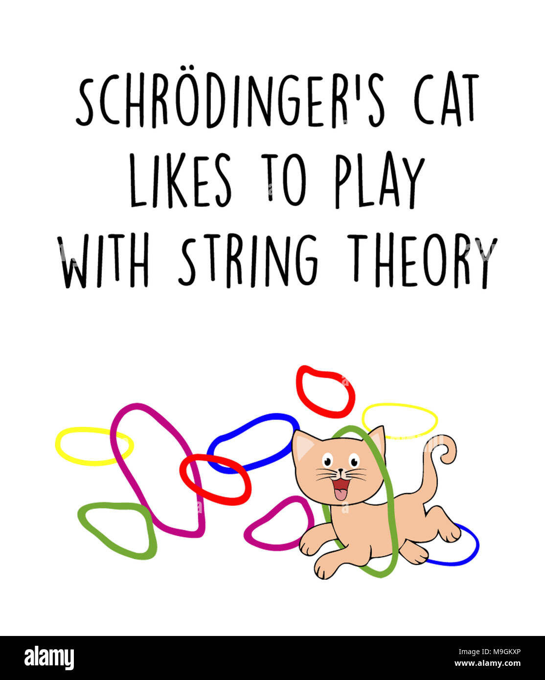 Schrodinger's cat likes to play with String Theory - Stock Image