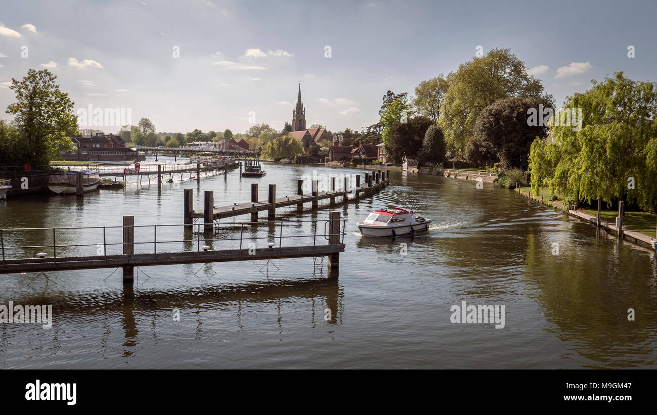 Lock Approach on River Thames, Marlow, UK - Stock Image