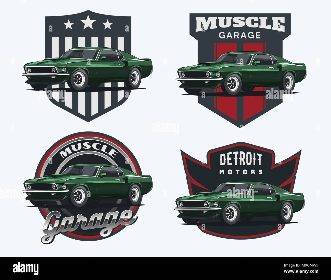f380851b Set of classic muscle car logo, emblems and badges isolated on white  background.