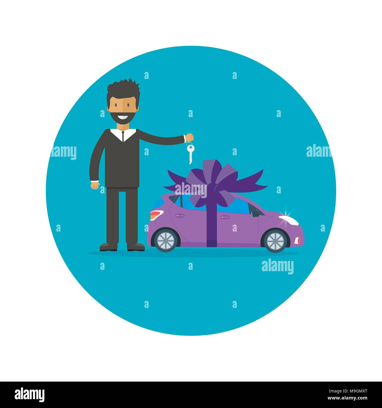 poster with man key machine and ribbon car gift concept or