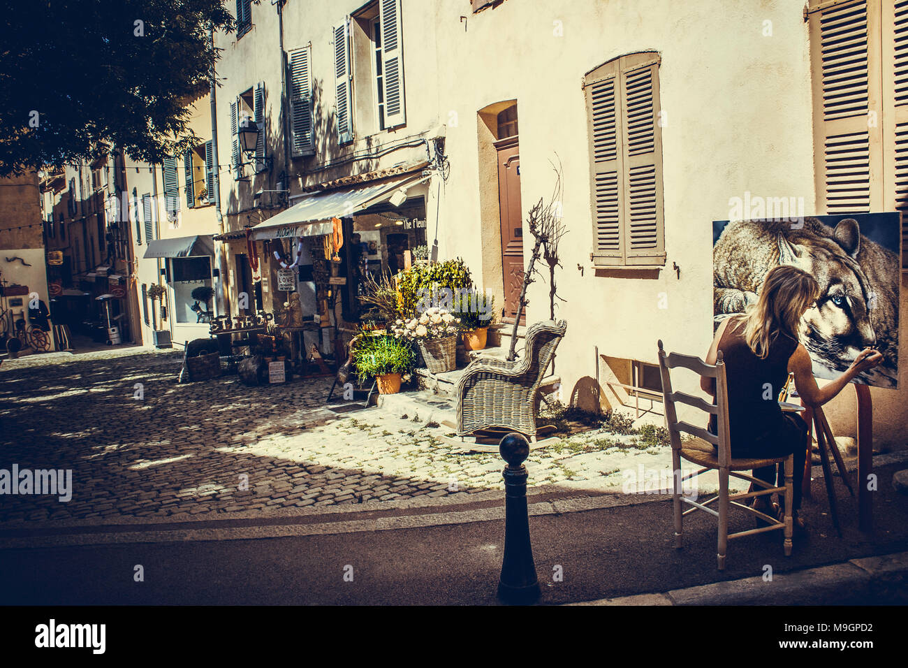 AGNES B.DAVIS peintre animalier dans l'âme - Saint-Tropez, Place de l'Ormeau 16.05.2016-9227 - Stock Image
