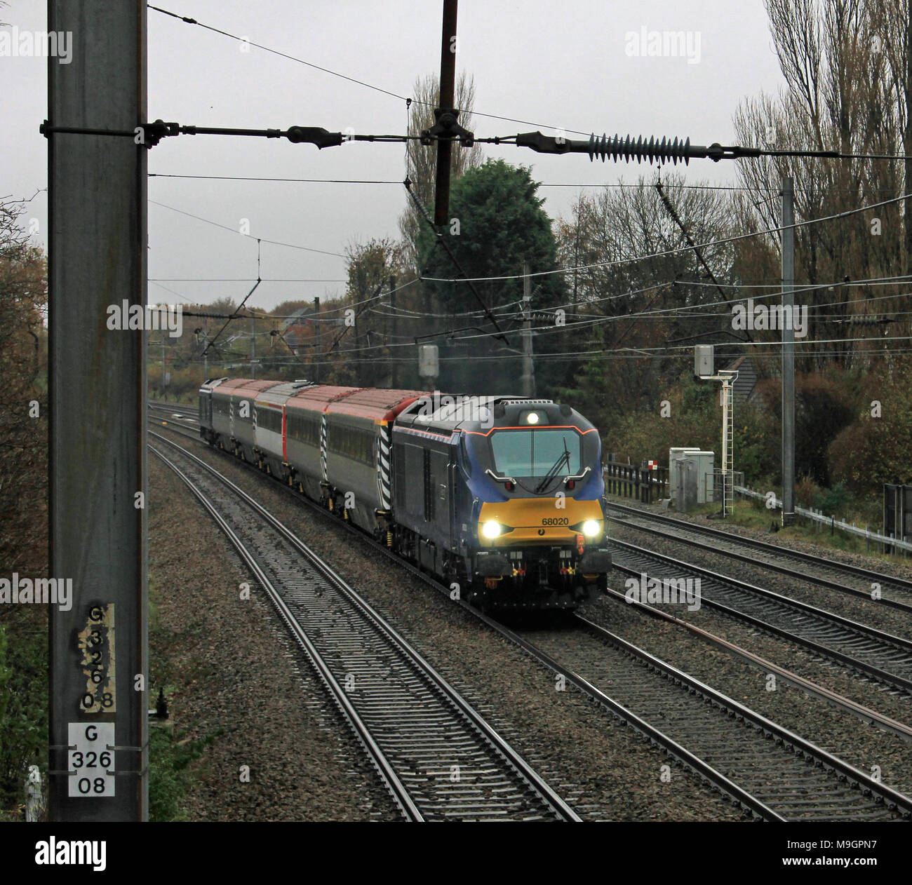 """Direct Rail Services diesel locomotive named """"Resolution"""" travelling up the West Coast Main Line with a training run for TransPennine Express crews Stock Photo"""