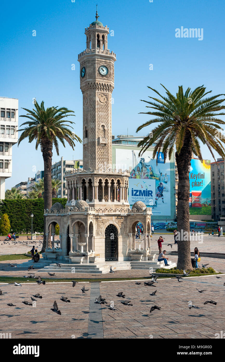 IZMIR, TURKEY - OCTOBER 04, 2014: Izmir Clock Tower, iconic historic town landmark. Saat Kulesi Stock Photo