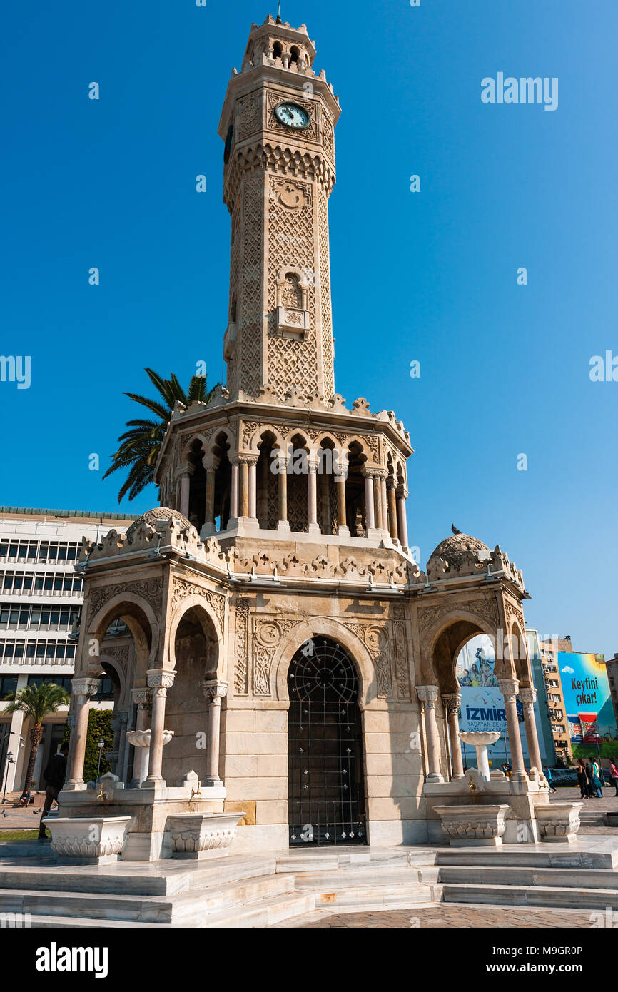 IZMIR, TURKEY - OCTOBER 04, 2014: Clock Tower, Ottoman architecture of historic symbol of Izmir at the  Konak Square, built in 1901. İzmir Saat Kulesi Stock Photo