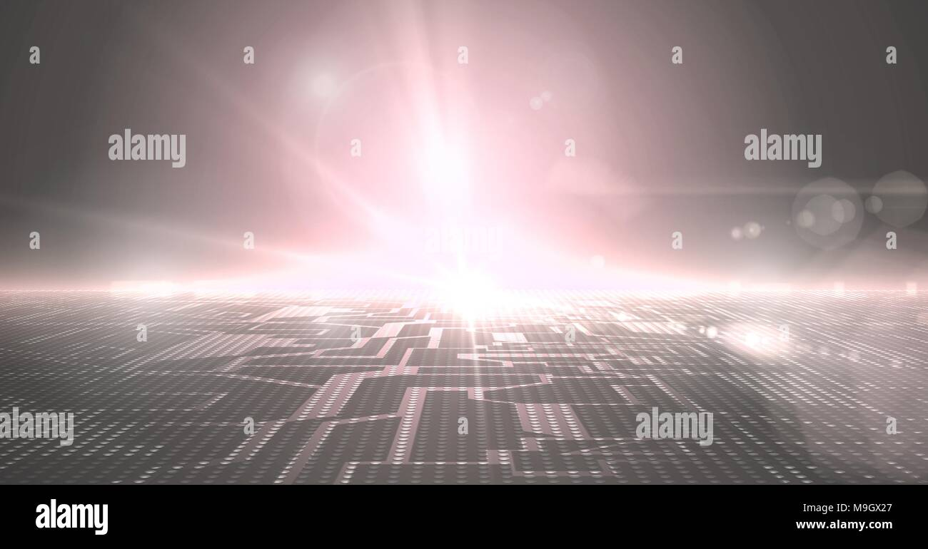 Glowing technological landscape - Stock Image