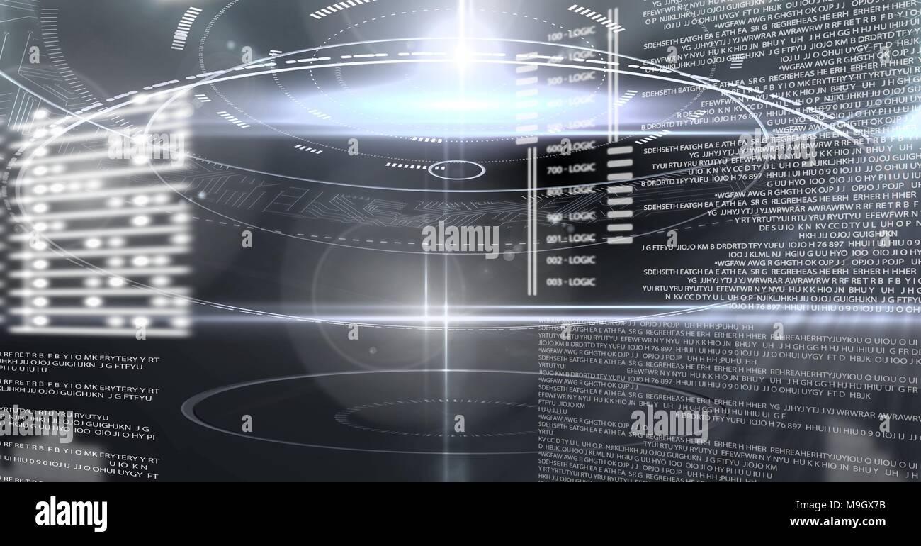 Digital technology glowing interface - Stock Image