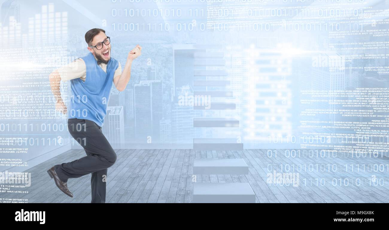 Geek man dancing with digital technology interface - Stock Image