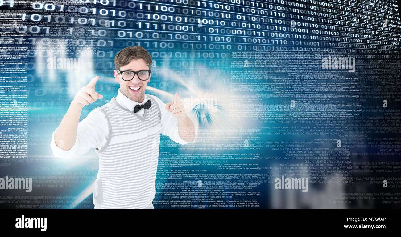 Geek with digital technology interface - Stock Image