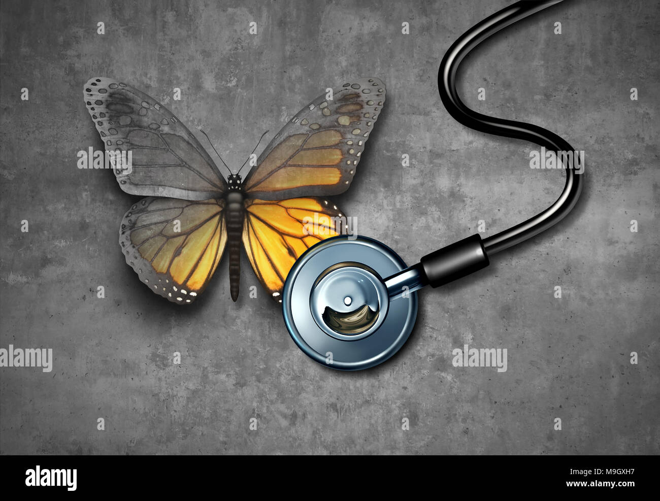 Medical recovery and healing through doctor rehabilitation concept as a grey butterfly being revived through treatment by a stethoscope. - Stock Image