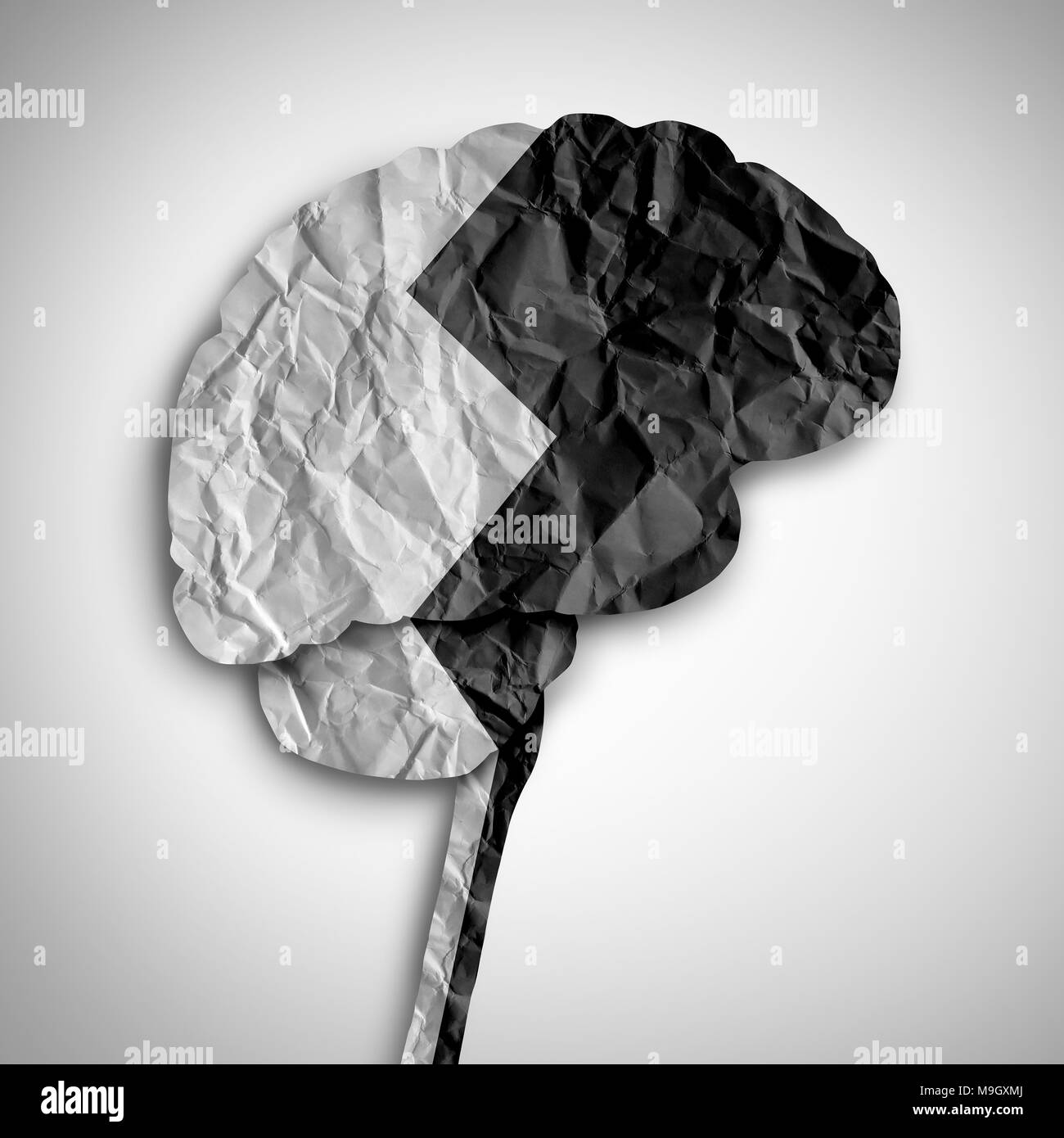 Bipolar brain disorder as a psychological illness concept as a thinking human organ divided in black and white as a medical symbol. - Stock Image