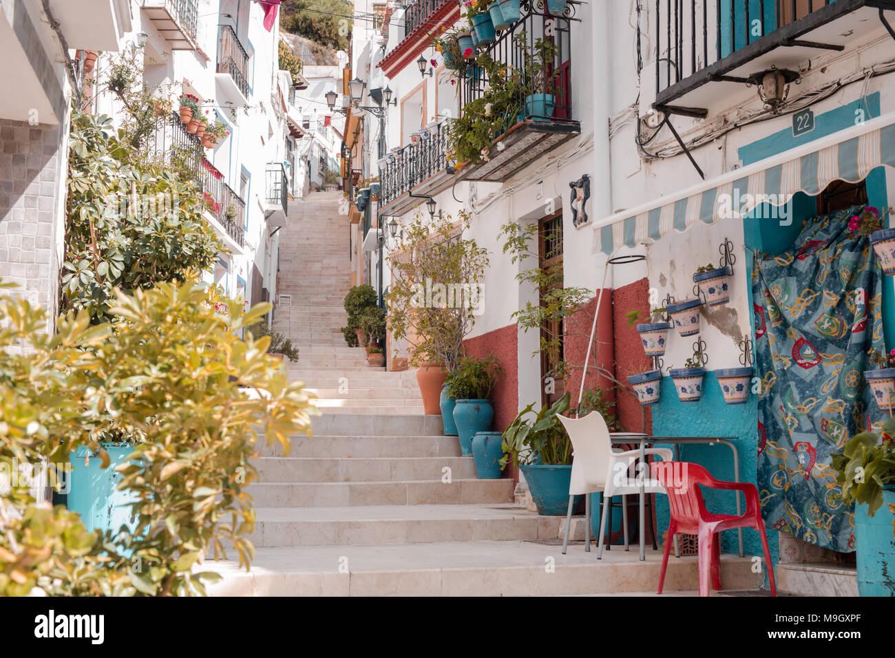 Casco Antiguo, Santa Cruz quarter, Alicante, Valencia province, Spain, Europe - Stock Image