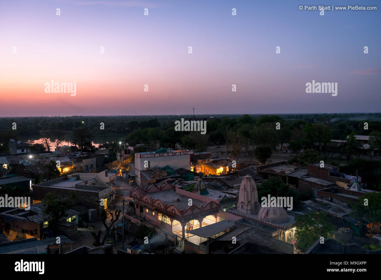 Place-Godhavi, Ahmedabad State Gujarat, India. March-26-2018. Photo of ariel view of Godhavi village near Ahmedabad city - Stock Image
