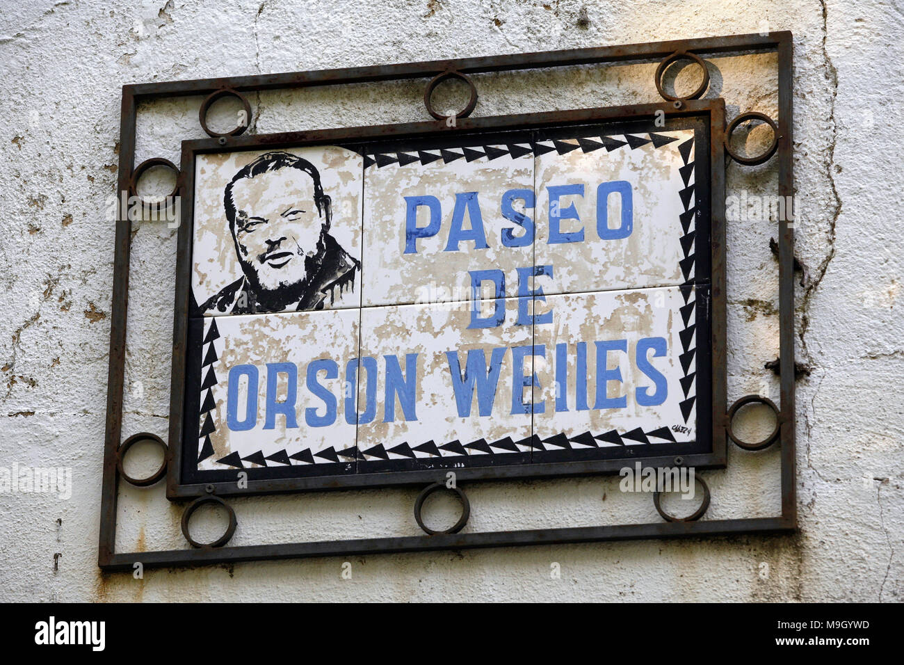 Street sign, Paseo de Orson Welles, Ronda, Andalusia, Spain - Stock Image