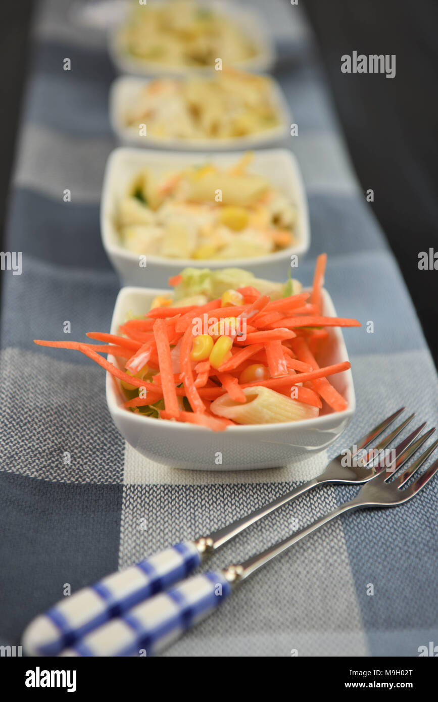 line of pasta salad dishes in portrait shape - Stock Image