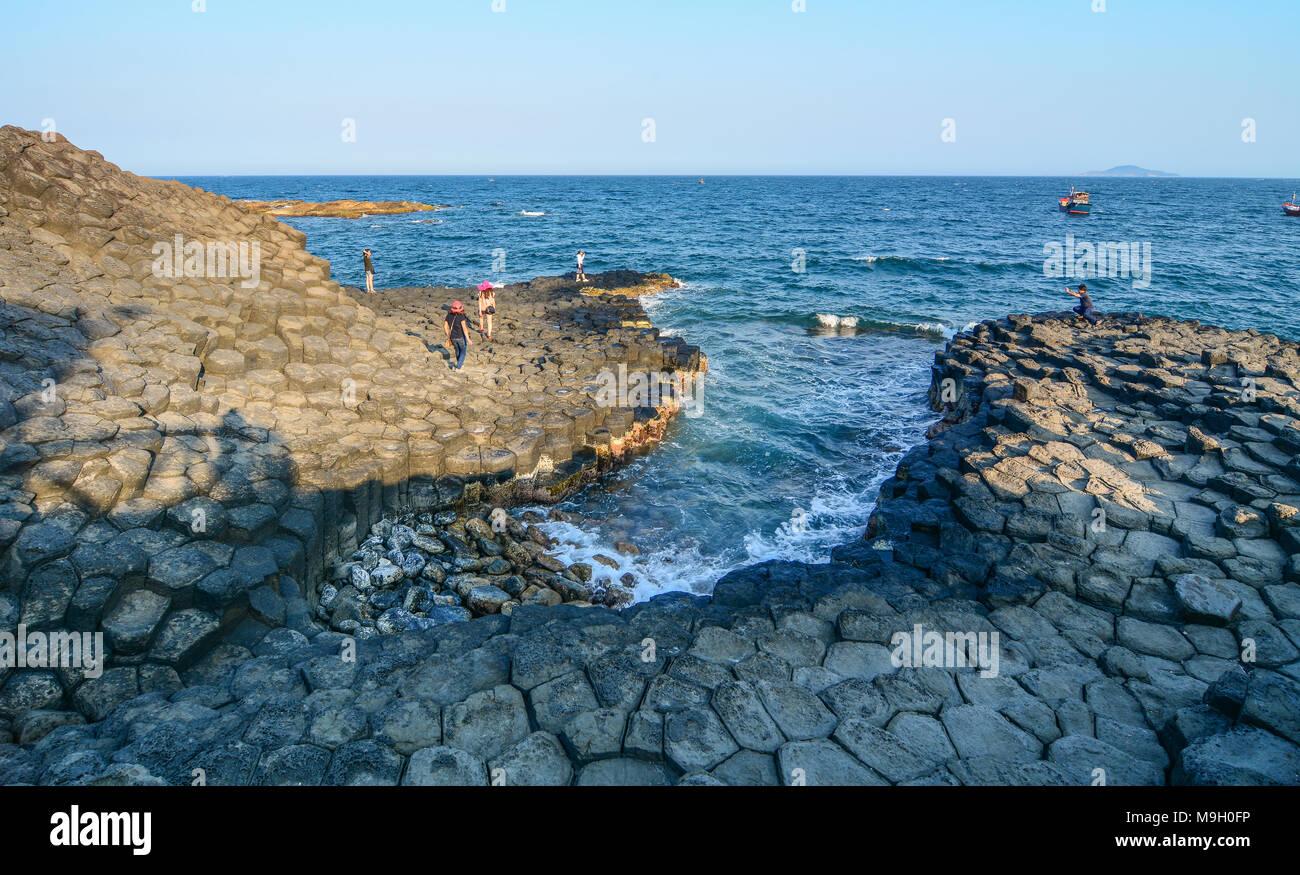 Da Dia Reef (Ghenh Da Dia) in Phu Yen, Vietnam. These rock columns were created from volcanic eruptions millions of years ago. - Stock Image