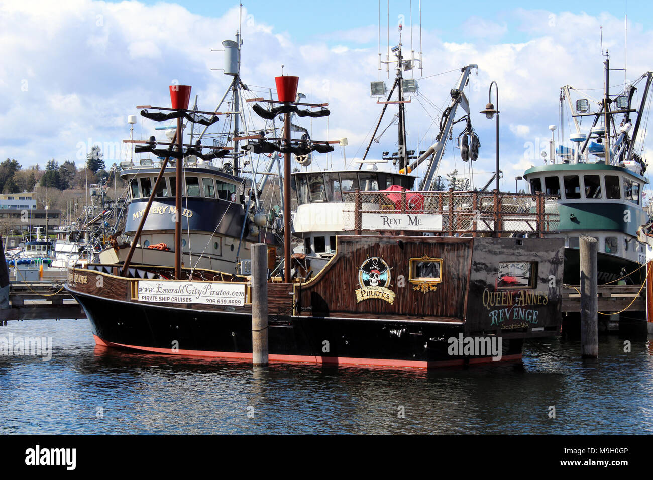 For rent pirate ship docked at the Fisherman's terminal in Seattle - Stock Image