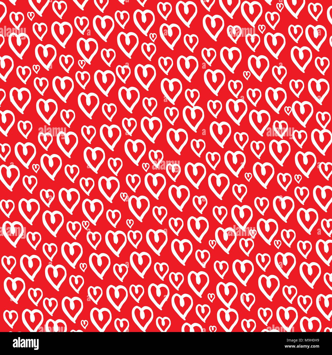 Red Background White Heart Patterned Wallpaper Stock Vector