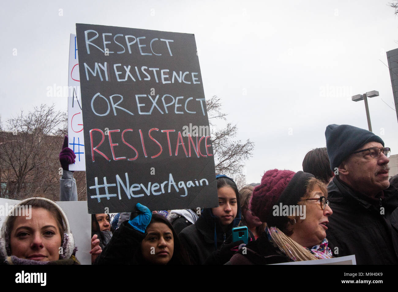 The March For Our Lives Rally and March in Chicago - Stock Image