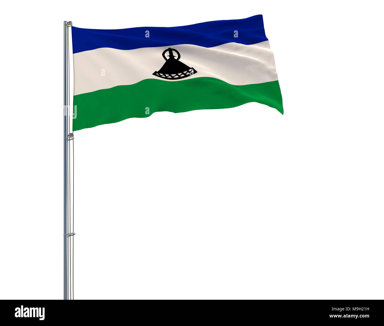 Isolate flag of Kingdom of Lesotho on a flagpole fluttering in the wind on a white background - Stock Image