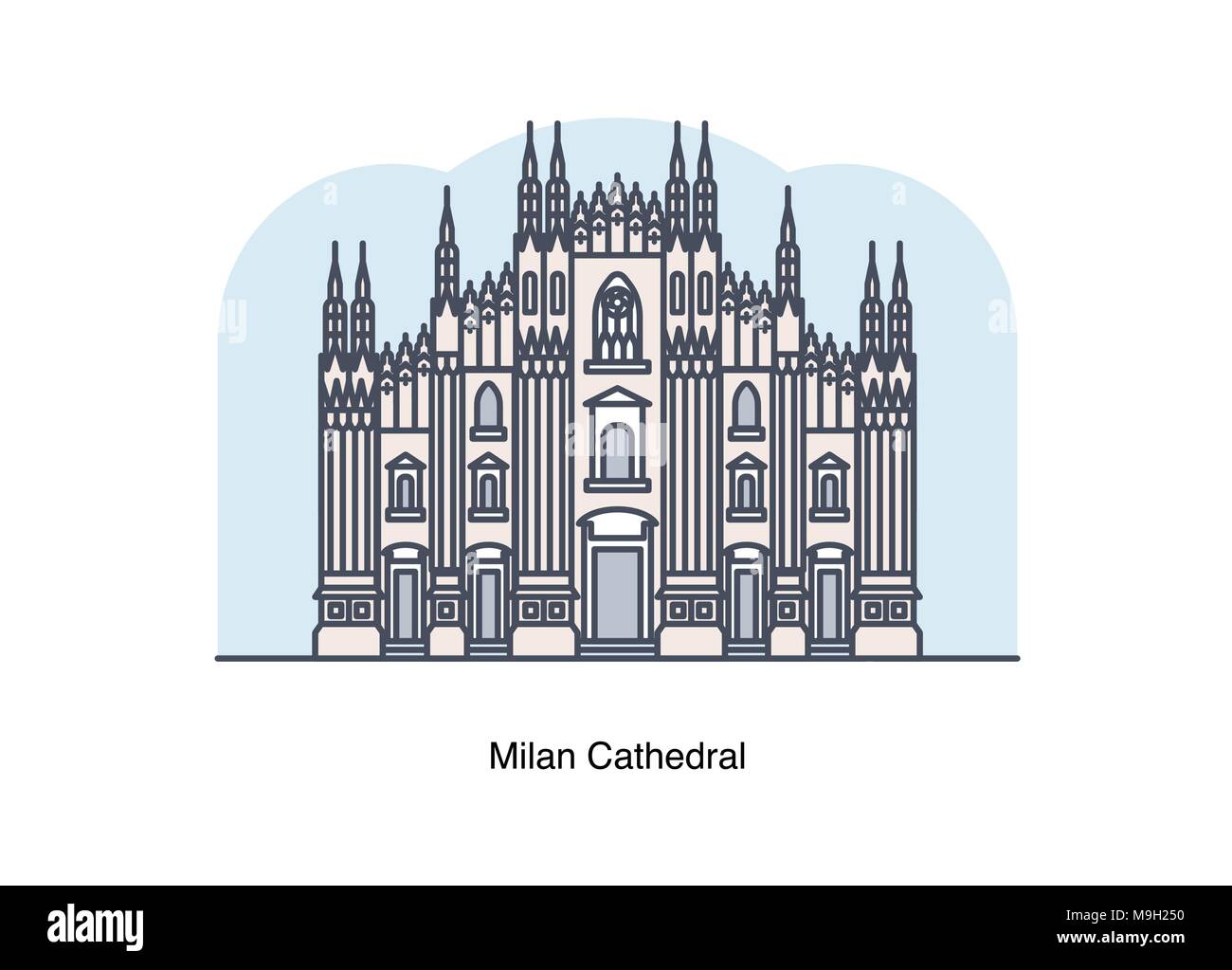 Vector line illustration of Milan Cathedral, Milan, Italy. - Stock Image