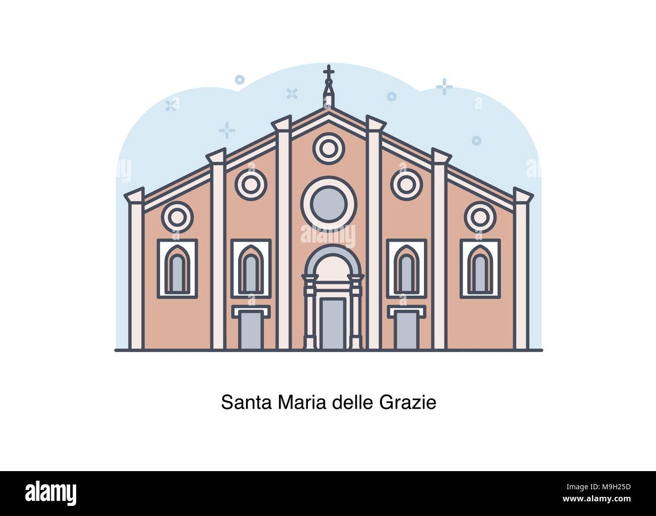 Vector line illustration of Santa Maria delle Grazie, Milan, Italy. - Stock Vector