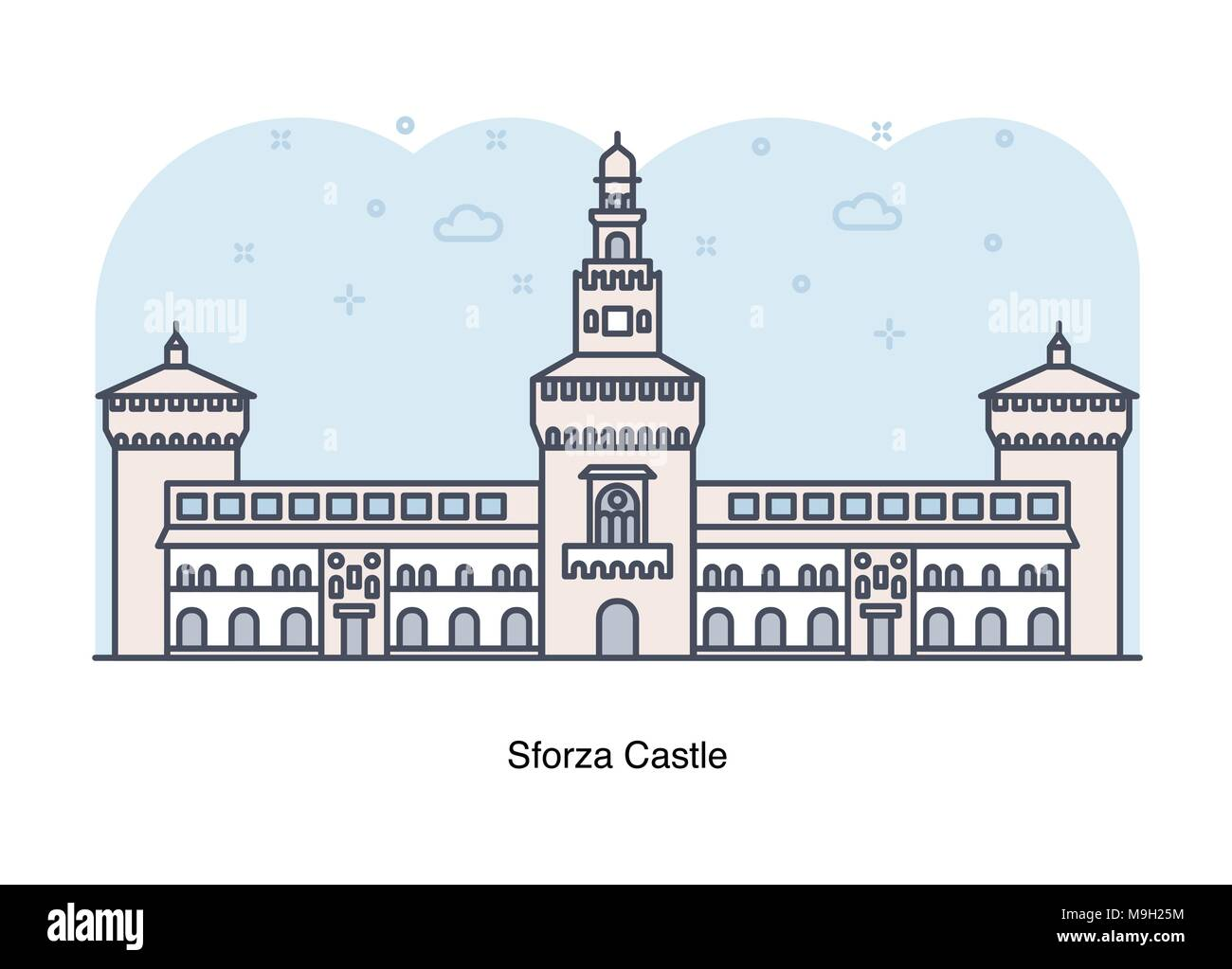Vector line illustration of Sforza Castle , Milan, Italy. - Stock Vector
