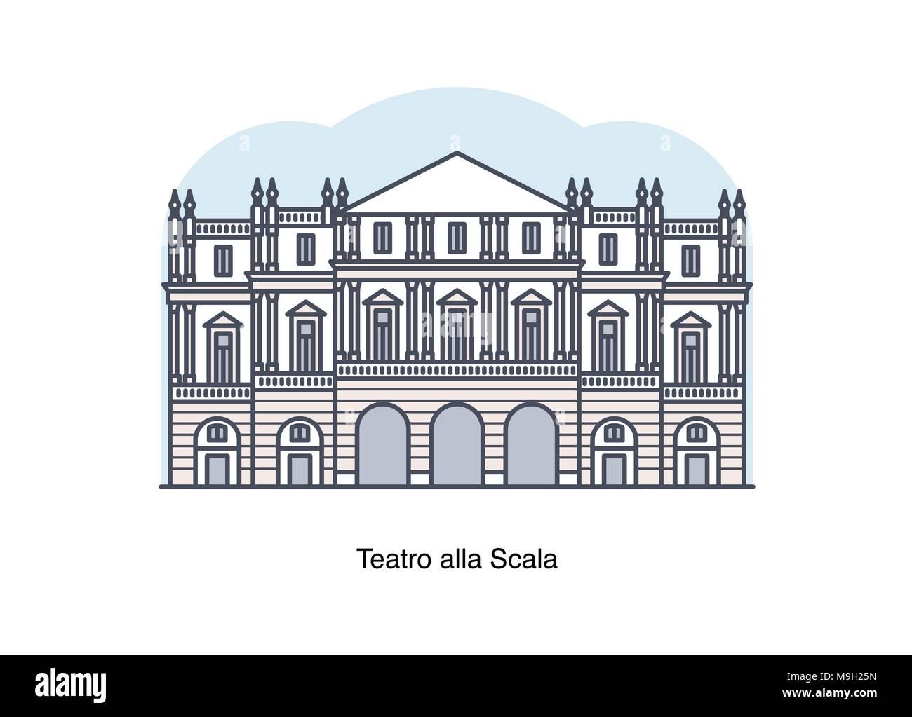 Vector line illustration of Teatro alla Scala (La Scala), Milan, Italy. - Stock Vector