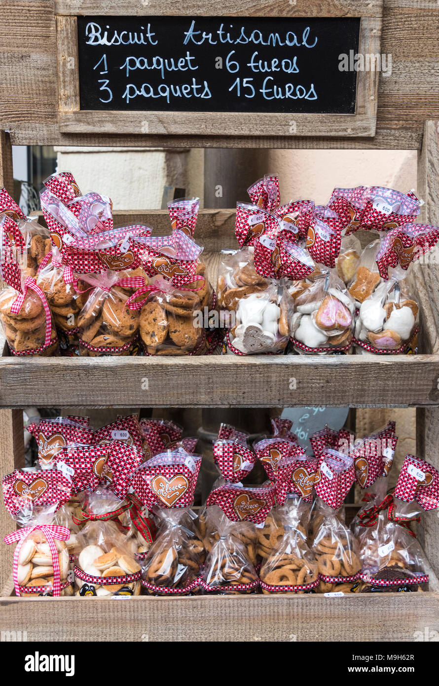 A market stall selling traditional biscuits, Colmar, Alsatian Wine Route, France - Stock Image