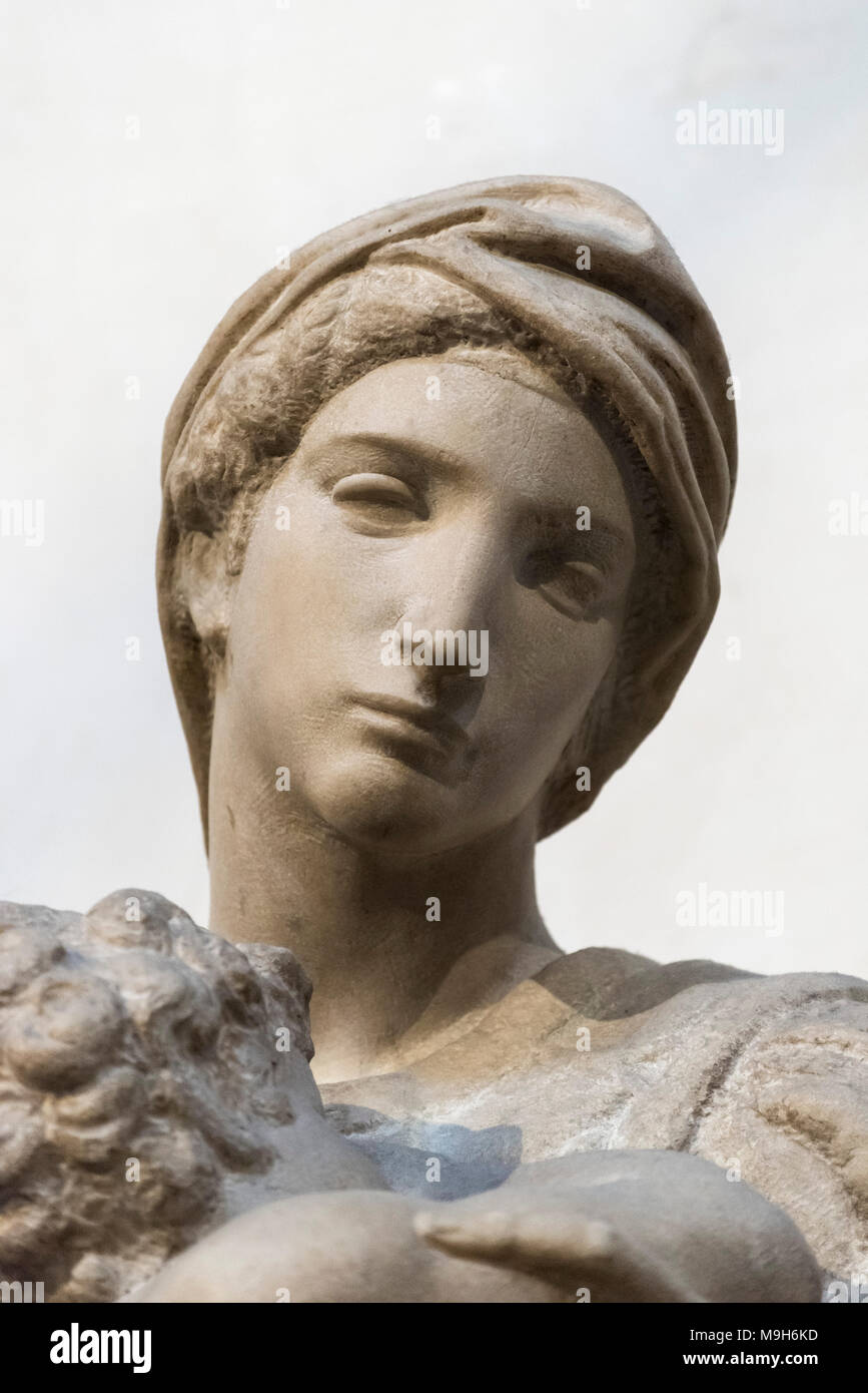 Florence. Italy. Medici Madonna (detail), by Michelangelo, on the tomb of Lorenzo the Magnificent and his brother Giuliano, New Sacristy, Cappelle Med Stock Photo