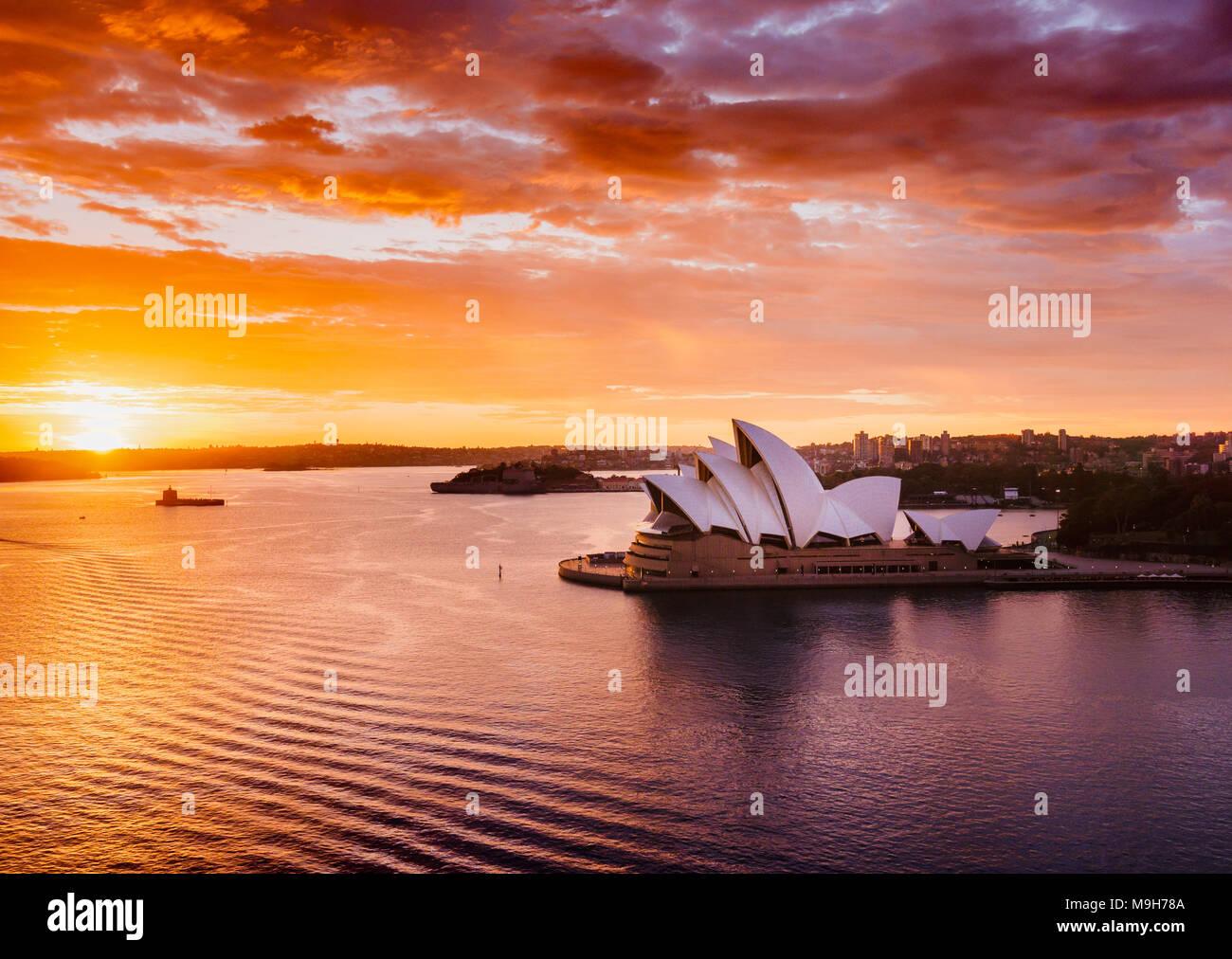Splendid sunrise at the Sydney Harbour, NSW, Australia Stock Photo
