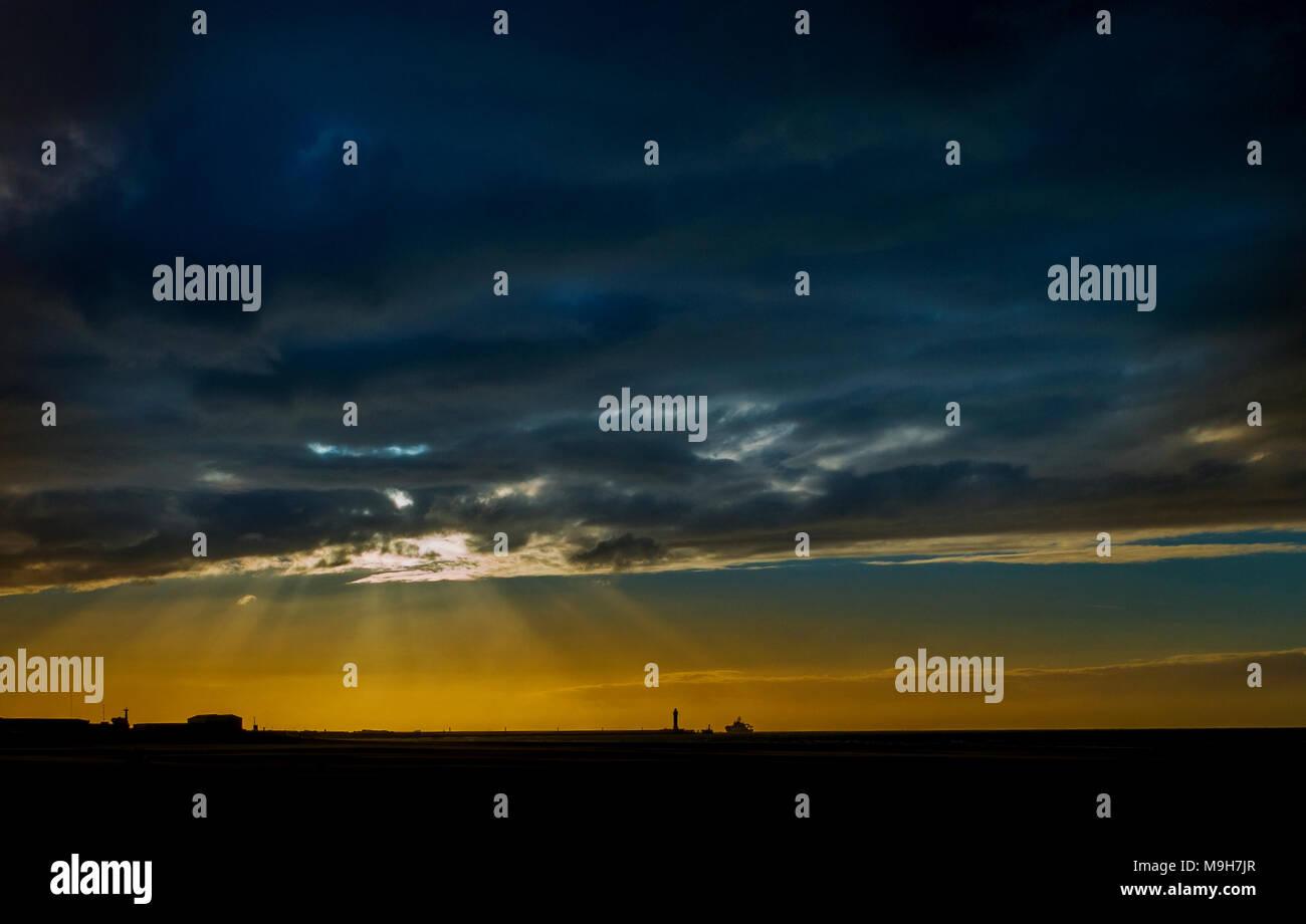sunsett on dunkirk beach, dunkerque france sunset - Stock Image