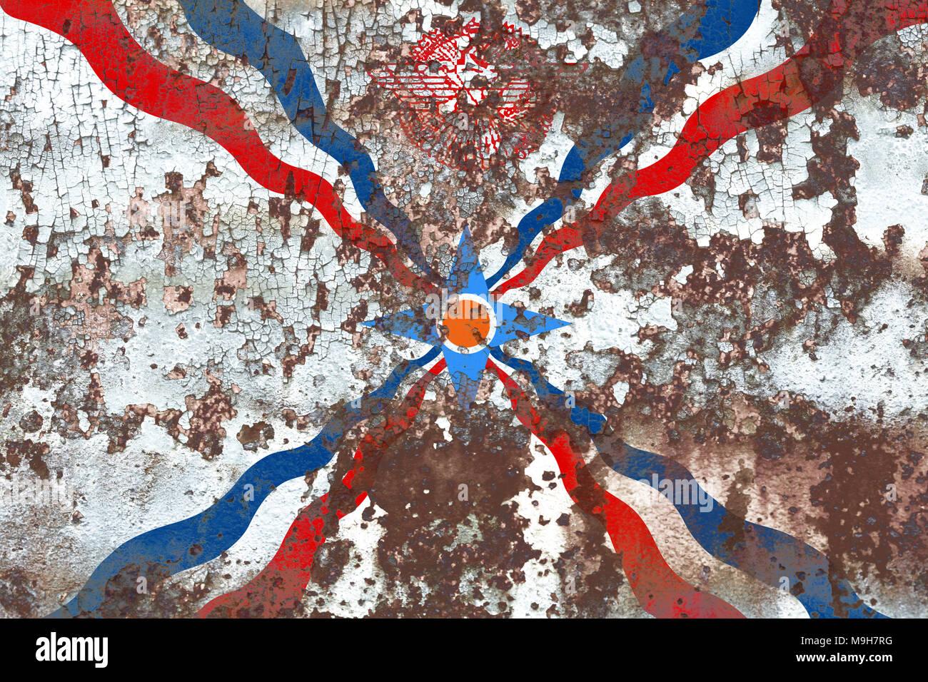 Assyria grunge flag, dependent territory flag - Stock Image