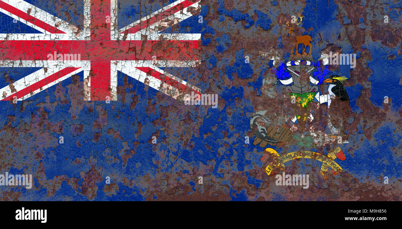 South Georgia and the South Sandwich Islands grunge flag, British Overseas Territories, Britain dependent territory flag - Stock Image