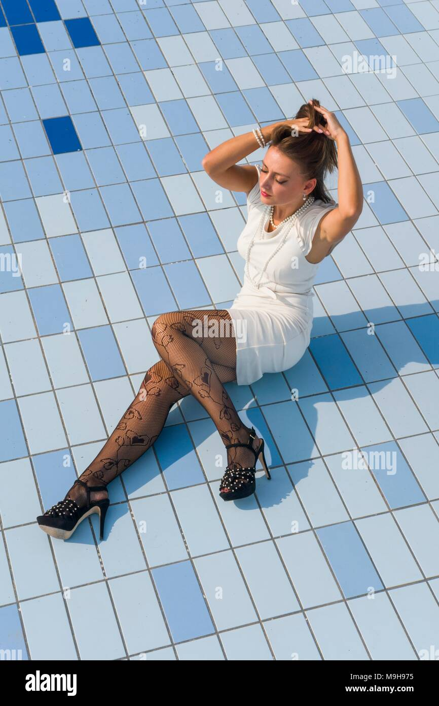 Pantyhose at the pool
