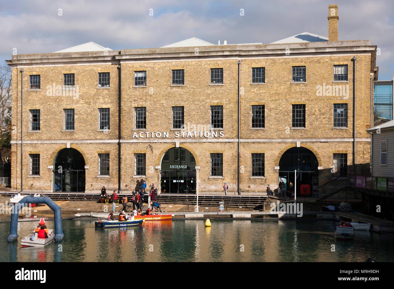 Action Stations at Portsmouth Historic Dockyard, Portsmouth, UK. (95) - Stock Image