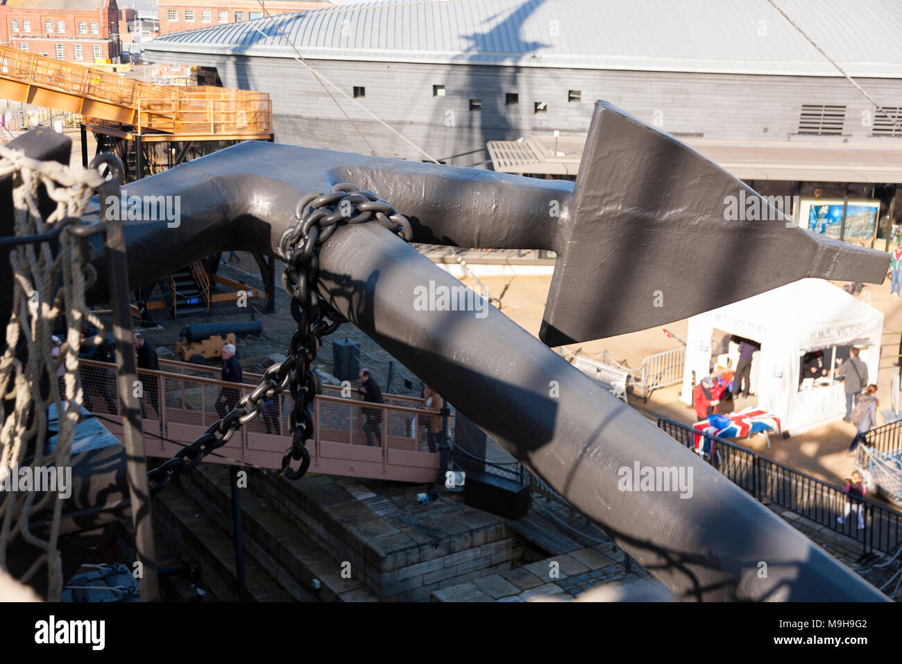 View over anchor on port side forward / bow / bows of Admiral Lord Nelson 's flagship HMS Victory of Portsmouth Historic Dockyard / Dockyards UK (95) - Stock Image