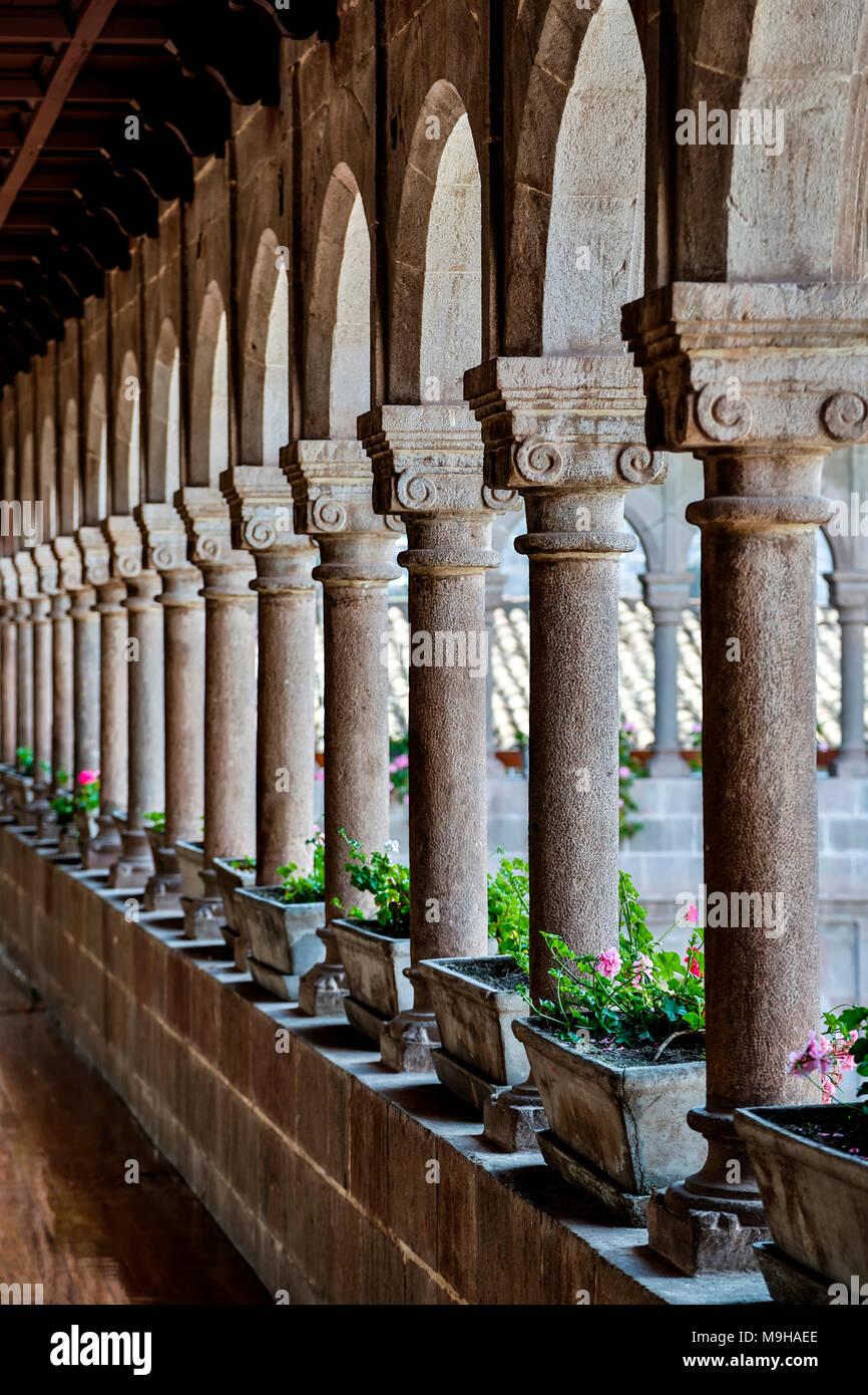 Columns and arches, Santo Domingo Convent, Coricancha, Cusco, Peru - Stock Image