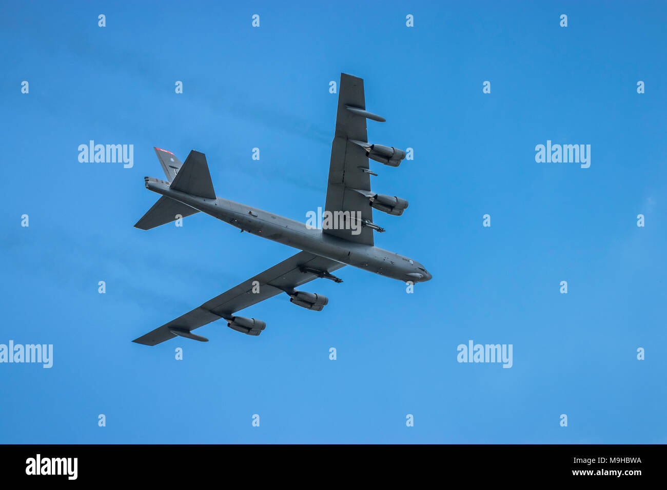 The Mighty Buff Boeing B-52 Stratofortress bomber in flight at the 2017 Airshow in Duluth, Minnesota, USA. Stock Photo