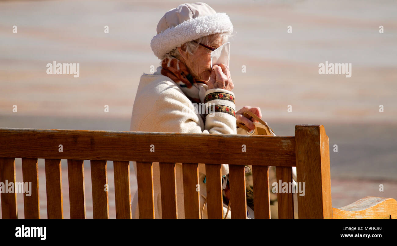A fashionable elderly woman sitting on a city seat sneezing into a handkerchief on a warm sunny Spring day in Dundee, UK Stock Photo