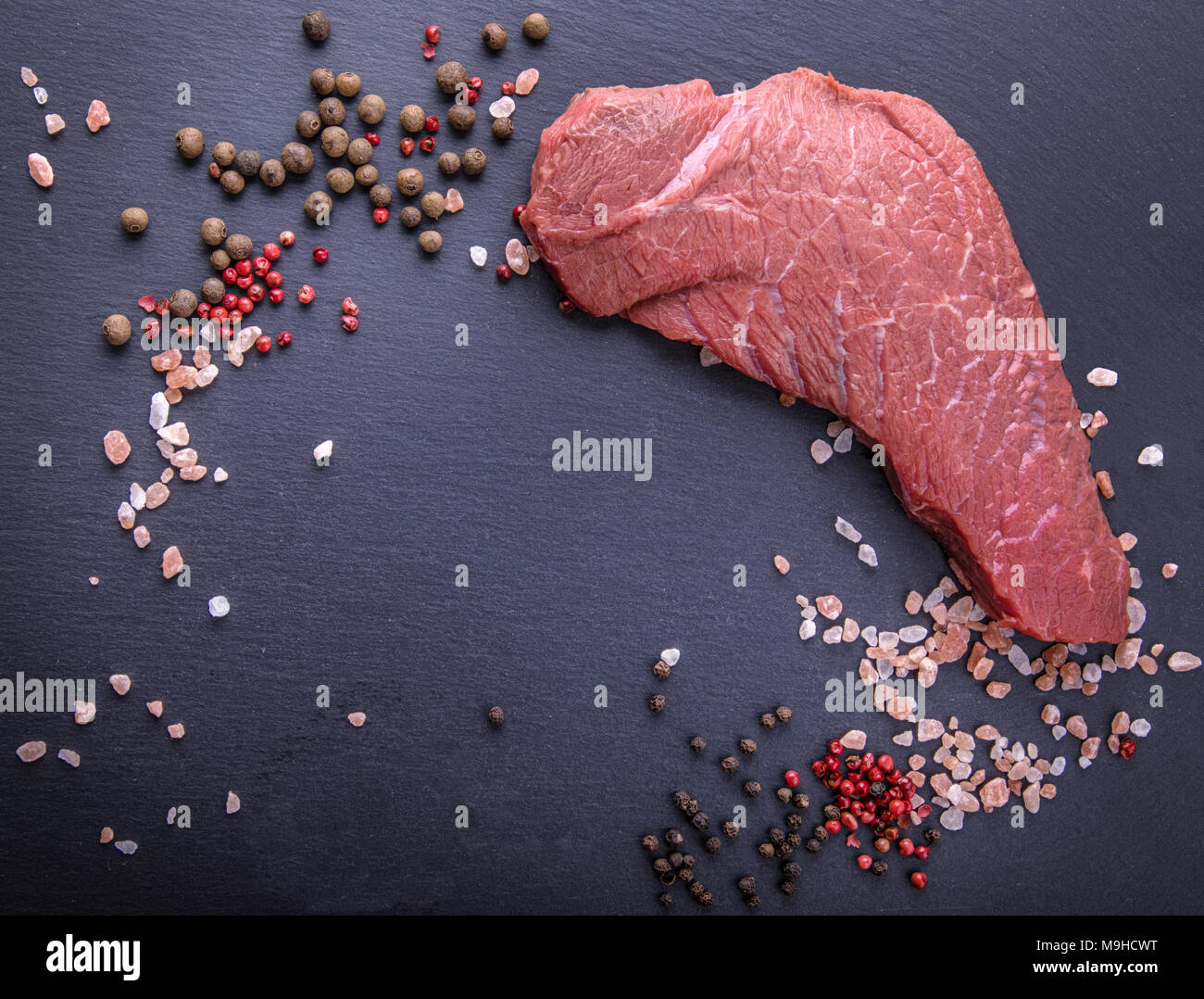 A background with a raw piece of beef and vegetables, a