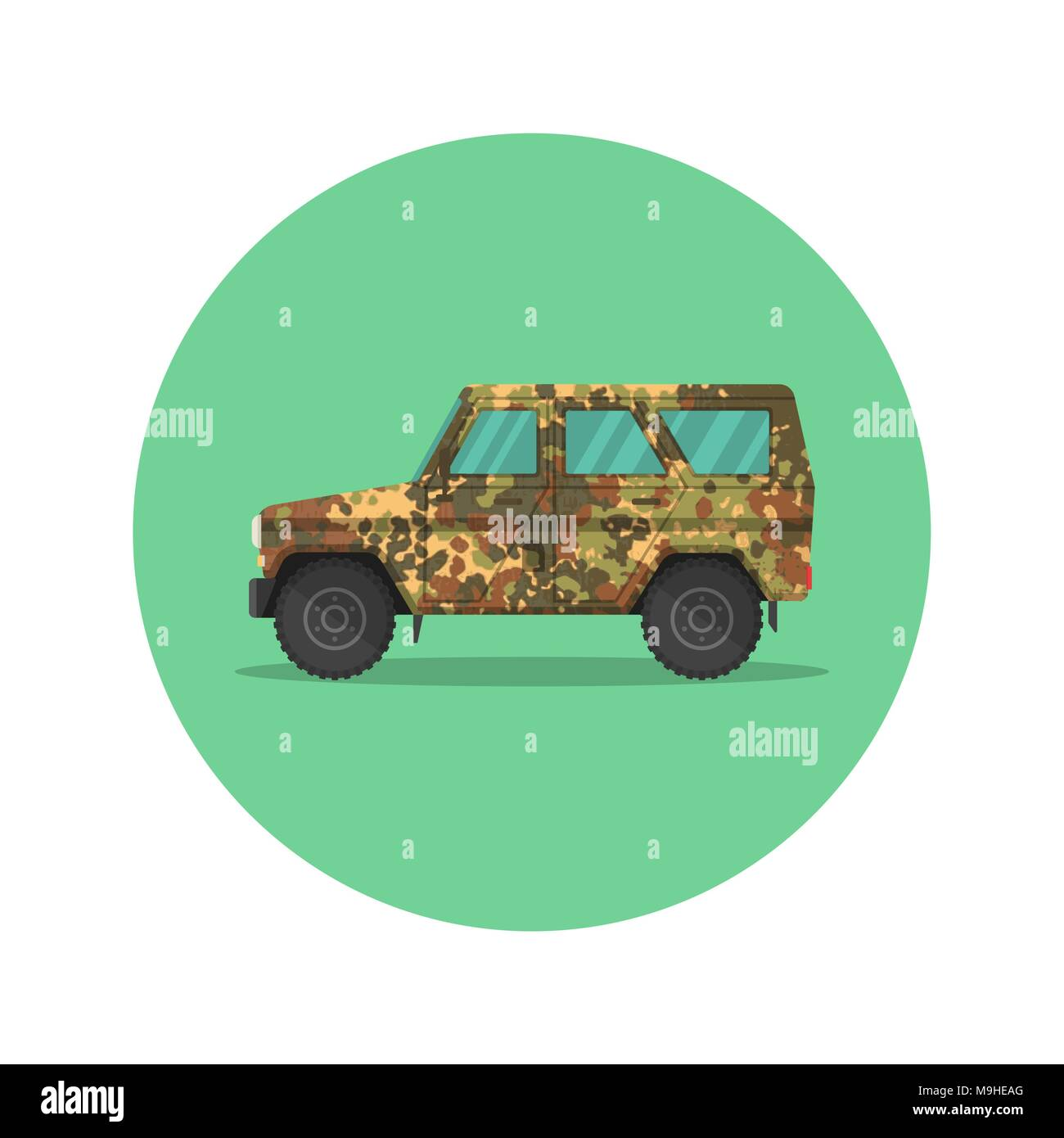 Car icon jeep. The army SUV with a camouflage covering of khaki. The vehicle of the increased passability for travel, active recreation, hunting, a sa Stock Vector