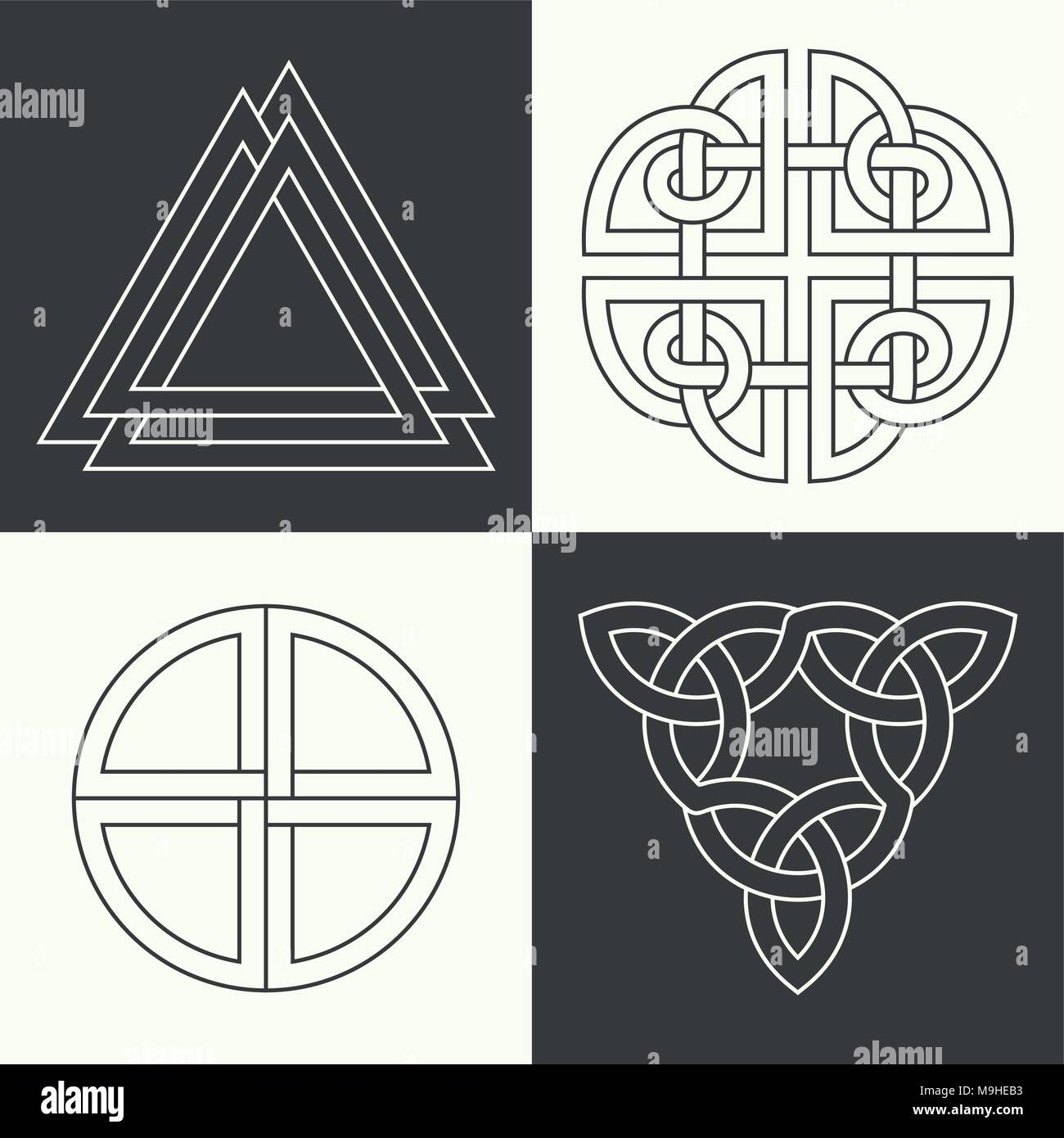 Set Of The Ancient Symbols Executed In Linear Style Celtic Signs