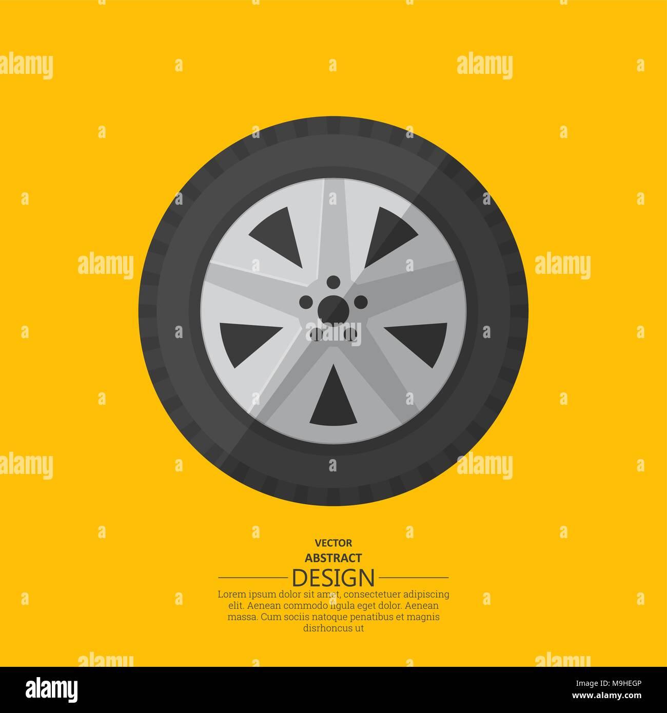 Automobile wheel in flat style. Vector illustration. - Stock Vector