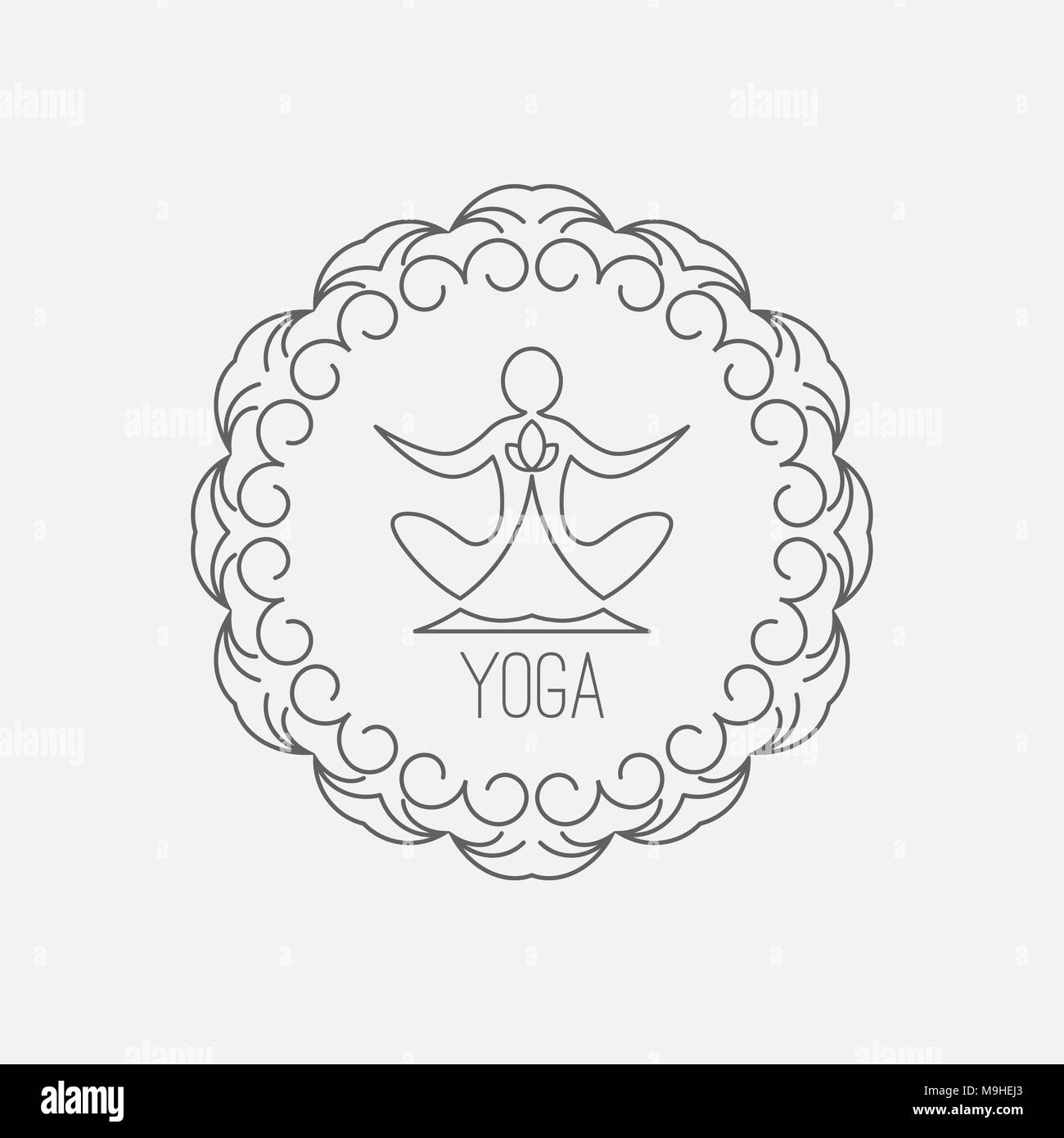 Yoga icon. Logo template on a blue background. Vector logo for the spa center, yoga center, yoga studio. Template graphic design element.  Vector illu - Stock Image